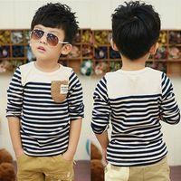 Wholesale Designer Shirts Children - Kids Clothing Children T-shirt Boys Korean Style Designer Clothes Cotton Striped Fashion Free Shipping Clothes Hot Sale