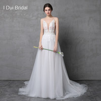 Wholesale Dresses Cleavage - Sexy Beaded Deep Cleavage Wedding Dress with Detachable Skirt Illusion Tulle Layer Beach Outdoor Light Bridal Gown
