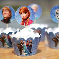 Wholesale Cupcake Wrappers For Sale - Hot Sale 60pcs Frozen Party Supplies Elsa Anna Cupcake Wrappers & Toppers For Kids Birthday Christmas Decoration Accessories Free Shipping