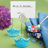 Wholesale Crown Shower Favors - FREE SHIPPING+Baby Favors Blue Crown Themed Princess Place Card Holder +100pcs LOT+Very Good For Baby Shower