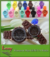 Wholesale Wholesale Men Colored Watches - Fashion wristwatch Rose-Gold Colored Style Geneva Watches Rubber Silicon Candy Jelly watches For Men Wamen chidren Silicone Quartz Watches