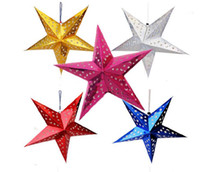 Wholesale Paper Hanging Star - 11.8-43.3 inch Stereo double laser Christmas decorations colorful folding paper star hanging lobby of stars free shipping CS02