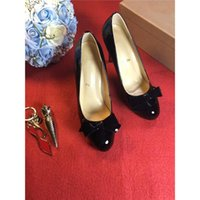 Wholesale Bow High Shoes Black - Luxury Brand Christian Red Bottom Heels Women 2017louboutin Luxury Brand Black Shoes Women Bow Tie Genuine Leather High Heels Dress Shoes