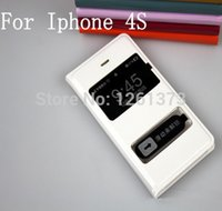 Wholesale Iphone4s Flip - Wholesale-Free Shipping For Apple iPhone 4 4s iphone4 iphone4s VIEW ULTRA THIN Leather Flip window Case Phone Cover