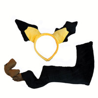 Wholesale Ear Tail Costume - Free Shipping New Pikachu Ears and Tail Cosplay Fancy Dress Costume Headband Hair Band Fashion Gift