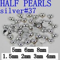 Wholesale Heart Pearl Flatback - Big Sale imitation pearls 1.5-8mm silver Craft ABS Flatback Half Round Pearls Scrapbooking decoration Beads