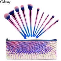 Wholesale Pro Makeup Bags - New Pro 10pcs Mermaid Makeup Brushes Set Eyebrow Eyeliner Blush Blending Foundation Cosmetic Beauty Make Up Fish Brush With Bag