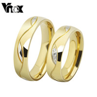 Wholesale Ring Gold Married - Wholesale-Hot Sales lovers ring AAA CZ zircon 18k gold plated stainless steel ring for men and women married engagement ring