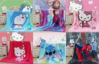 Wholesale Boy Crib Bedding Wholesale - Cartoon Spiderman KT Princess Toddler Nap Mat Blanket 100*140CM Boys Girls Warm Blanket for Summer Autumn Winter 10p l Free Shiping