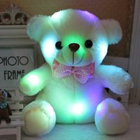 Wholesale Cute Big Teddies - 2018 High Quality LED Night Light Luminous Teddy Bear Cute Shining Bear Plush Toys Baby Toys flash Birthday Gifts Valentines christmas