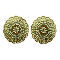 Wholesale Favorite Earrings - Min Oder $5 Wholesale Delicate Round Gold Color Flower Charm Women Favorite Stud Earrings