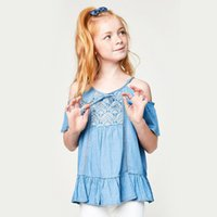 Inglaterra Girls Jeans T-shirts Summer Lace Fashion Tops Kids Casual Shoulderless Tops Denim Fabric Frete Grátis