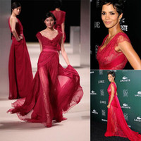 Wholesale Halle Berry Custom Dress - Elie Saab 2016 New Fashion Halle Berry CDGA Red Carpet Party Dresses See Through with Lace Deep V Neck Sexy Evening Pageant Celebrity Gowns
