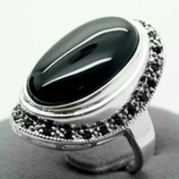 Pretty 17X30mm Agata Nera Inlay Marcasite 925 Sterling Silver Ring 7/8/9/10