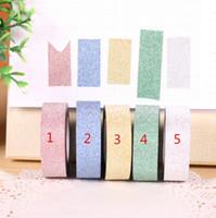 bâtons de papier bricolage achat en gros de-50pcs / lot bricolage auto-adhésif paillettes Washi papier bande Stick Scrapbooking livre Decor artisanat Rolls 10 M