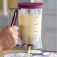dispensador de medidas al por mayor-Dispensador de masa de pastel con medida / embudo de magdalenas / taza de medición de válvula separadora de crema