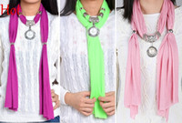 Wholesale Embellished Scarf Necklace - 2015 New Charms Scarf Peal Pendant Scarves Jewelry Scarves Necklace Neck Wear Vintage Scarf Black Pink Green Grey Red Purple Colors SV005445
