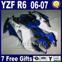 Wholesale Body Kits Parts - ABS Injection molding for YAMAHA R6 body repair parts 2006 2007 white blue yzf r6 fairings kits 06 07 high grade FZI
