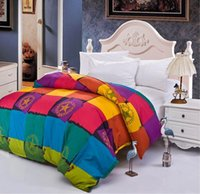 Wholesale Queen Duvet Cover Stock - Wholesale-2015 NEW colorful grid duvet cover full queen king size fast color drop shipping in stock free shipping