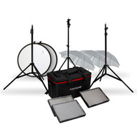 kit dslr al por mayor-3x Aputure CRI95 LED Video Panal Kit H528W / S + Stand + Soft Umbrella + Reflector para videocámara cámara DSLR