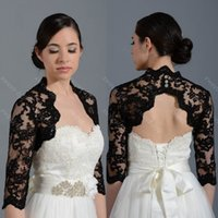 Wholesale Black Bridal Lace Bolero Jacket - 2015 Black Wedding Bridal Bolero Jacket Cap Wrap Shrug Half Sleeve Front Open Backless Cheap Custom Made Jacket for Wedding White Ivory Sexy