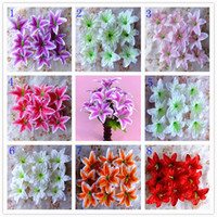 Wholesale Artificial Silk Lily For Wedding - European Pastoral Style Artificial Silk flower Bouquet For Wedding Party Decorations 8 Color 2015 New Arrival