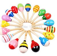 Baby Wooden Maraca Hand Rattles Kids Musical Party Favor Criança Baby Shaker Percussão Instrumento Musical Toy 800PCS / LOT WL129