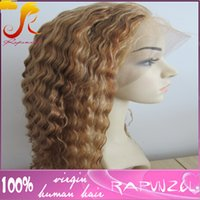 Wholesale Highlights Front Lace - Top grade hot sale27 30 highlight color deep curl brazilian human hair full lace wig