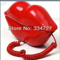 Wholesale Telephone Sexy Lips - Wholesale-Novelty Sexy Red Kiss Hot Lips Design Home Desk Wired Phone Home Phone Telephone