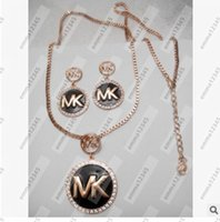 Brand Necklace Earrings Set Trendy Gold Rose Plated Pendants Jóias Conjuntos Para Mulheres Cross Accessories