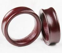 Wholesale Double Flare Ear Piercing Flesh - mix 8-20mm 70pcs lot Brown Wood Howll Double Flare ear plugs flesh tunnels ear piercing body jewelry
