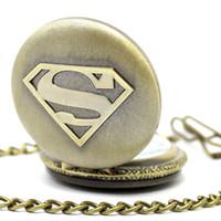Wholesale new superman man steel - Wholesale 100pcs lot black classic superman watch vintage pocket watch necklace Men Women antique models Tuo table watch PW030