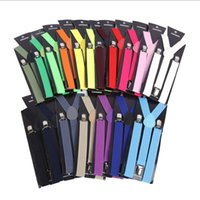 Wholesale Suspender Jeans Women - Fashion Women Men's Unisex Clip-on Braces Elastic Slim Suspender 1Inch Wide 20colors Adjustable Y-Back Suspenders Male Pants Jeans Braces