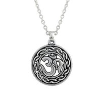 Wholesale Wholesale Macrame Jewelry - comejewelry Egyptian Silver Plated Link Chain With Round Macrame Plate OM Chakra Wiccan Necklace Jewelry for Valentine and Easter Gift