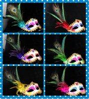 mascaras de pavo real sexy al por mayor-2016 Sexy Girls Peacock Feather Masks oro Crystal embellecido encaje máscara Masquerade Mardi Gras Máscaras Máscaras del partido 6 Color 50 unids / lote