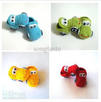Wholesale Kids First Walker Shoes - Baby crochet shoes baby boys 4 colors cars booties infant handmade first walker shoes kids knit sandals childrengift