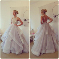 Wholesale Beaded New Arrival Dresses - KISSBRIDAL New Arrival 2016 Stunning Ball Gown Prom Dresses Hayley Paige Bateau Neck Beading Ruffles Organza Backless Long Party Dresses