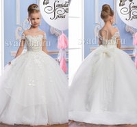 Wholesale Short Ball Dresses Sleeves - Pearls Lace Sheer Neck Tulle Arabic Flower Girl Dresses Vintage Child Pageant Dresses Beautiful Flower Girl Wedding Dresses F29