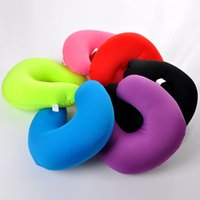 Wholesale Micro Pillow - 2016 Free Shipping 1 PC Pure Color U Shaped Neck Micro Beads Rest Airplane Car Travel Bed Pillow Memory Foam Bedding Set
