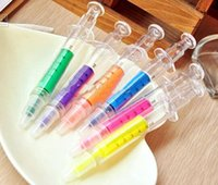 Wholesale Injection Pens - Injection Syringe Highlighter Stationery Fluorescence Pencil Marker Watercolor pen Children's Gift 50pcs