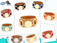 Wholesale Leather Monogram - Wholesale- New Style Monogram Leather Cuff Bracelet Pulseras 3 Row Gold Silver Plated Multicolor Leather Charm Bracelet For Women Men