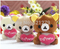 Wholesale Wholesale Valentine Bear Bouquet - Free shipping 100pcs lot Sitting 7cm valentine Teddy Bear with I LOVE YOU heart Plush Pendant Soft Toy For Bouquets,keychain