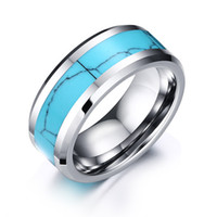 anéis planos venda por atacado-Anel De Casamento Branco Anel De Tungstênio Mens Casamento Banda Turquesa Inlay Alta Polido Borda Plana Beveled, Largura de 8mm