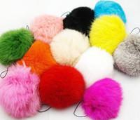 animales encantos de telefonía móvil al por mayor-12PX real bola de piel de conejo llaveros anillo de la etiqueta del teléfono móvil cadena del encanto color mezclado