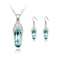Wholesale Party Shose - 18KGP Austrian Crystal Shose Necklace Earrings Sets diamond jewelry sets fashion Women Chirstmas Day Best Gift Jewelry 8160