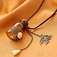 Wholesale bottle sweater - Wholesale-New Womens Retro Hollow Flower Wishing Bottle Long Leather Rope Sweater Necklace 4QFQ 6O7G