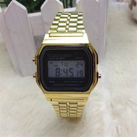 Wholesale Photoelectron Watches - 2015 Men women Metal table gold and silver F-91W watch f91w fashion-thin LED A159W-N1 photoelectron watch