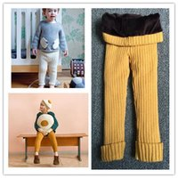 Wholesale Wholesale Wool Baby Tights - Baby Girls Boys Knitting Wool Leggings Pants Children Autumn Winter Keep Warm Thicken Tights Pants Kids Clothing Child Solid Color Trousers