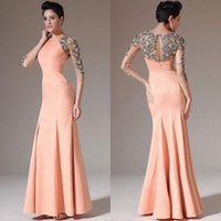 Wholesale Satin Bridal Sleeves - 2015 Prom Dresses Jewel 3 4 Long Sleeve Evening Dresses Floor Length Hollow Mermaid bridal mother Dresses With Appliques Satin
