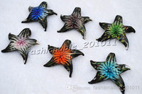 Wholesale Murano Glass Starfish - Animal Starfish Multi-Color Lampwork Murano Glass Pendants Flower In Necklaces Wholesale Retail FREE #pdt66